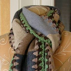Sweater Scarf with Crochet Edging