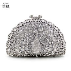 XIYUAN brand 2017 Luxury Diamond Gold Evening Bags Peacock Silver Clutch Crystal beaded Evening Clutch rings wedding party purse