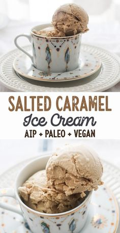salted caramel ice cream - aip paleo vegan dairy free nut free top 8 free [low allergen and anti-inflammatory recipes from rally pure - autoimmune protocol] Paleo Dessert, Paleo Sweets, Paleo Vegan, Paleo Dairy, Vegan Sugar, Paleo Life, Paleo Ice Cream, Dairy Free Ice Cream, Coconut Cream