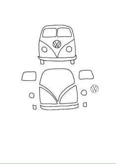 Bus pieces for patchwork pillow Applique Templates, Applique Patterns, Applique Designs, Owl Templates, Applique Ideas, Free Motion Embroidery, Embroidery Applique, Machine Embroidery, Felt Patterns