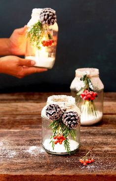 1 snowy DIY mason jar centerpieces in 5 minutes easy beautiful winter wonderland crafts decorations for weddings holidays Thanksgiving Christmas A Piece of Rainbow Pot Mason Diy, Mason Jar Crafts, Christmas Mason Jars, Christmas Diy, Christmas Projects, Diy Home Decor Projects, Decor Crafts, Diy Crafts, Diy Hanging Shelves