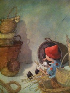 Pinocchio used his free time to make hampers and baskets from rushes. Illustration by Quentin Gréban.