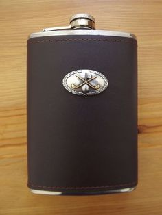 Brown Genuine Leather Wrap Stainless Steel Flask Silver Gold Plated Golf Club #MDREAM