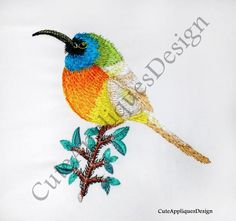 Colorful bird Embroidery Design No 1167 by CuteAppliquesDesign on Etsy