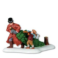 Dept 56 Dickens Village - A Christmas Beginning. A beautiful hand painted porcelain figurine of a father and son who have just cut down a Christmas Tree. Christmas Cup, Christmas Carol, Christmas Ideas, Christmas History, Christmas 2014, Dept 56 Dickens Village, Love Statue, Daddys Little Princess, Christmas Villages