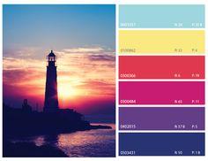 sunset color scheme, sunset colors, purple blue and magenta