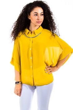 Naked Zebra Sheer Button Down Poncho Blouse in Mustard : Tops