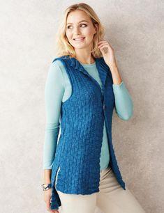 Love layering in Jacinta Bowie's flattering waistcoat Knitting Patterns Free, Free Knitting, Knitting Ideas, Crochet Patterns, Knit Crochet, Crochet Edgings, Knit Vest Pattern, Knit Fashion, Women's Fashion