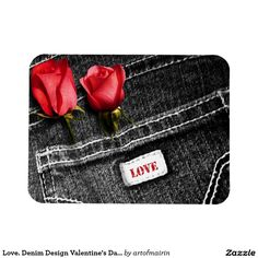 Love. Red Roses and Black Denim Design Valentine's Day Magnets. Matching cards, postage stamps and other products available in the Holidays / Valentine's Day Category of the artofmairin store at zazzle.com