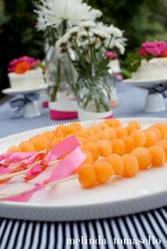 Pink & Orange Patio Party and Melon Ball Skewers