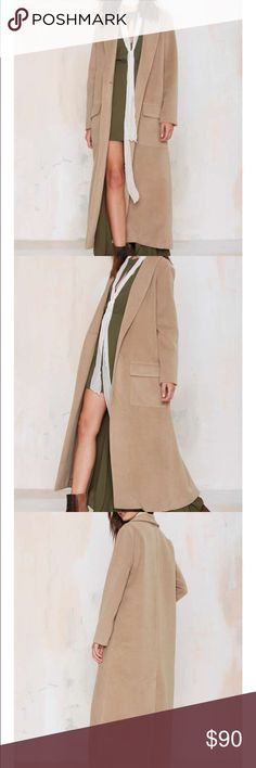 #143 bb Dakota 🐥🔵 Hot to trot is taking on new meaning. The Melton Coat is camel and features duster silhouette, shawl collar, front flap pockets, and back vent. Unlined, covered seams, button closure at front. We love it with leather trousers and a tissue-thin tee, or a bodycon and platform boots. Warm on up, ladies. By BB Dakota.  *Polyester/Rayon/Spandex  *Runs true to size  *Model is wearing size small  *Dry clean only  *Imported BB Dakota Jackets & Coats Trench Coats