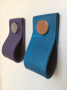 Hand dyed leather pulls with blue and purple finish
