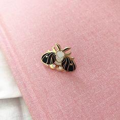 Tiny Black Moth - A Grade - Hard Enamel Pin