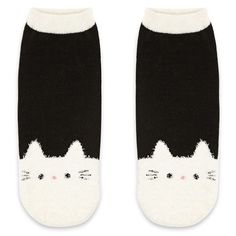 Forever21 Fuzzy Cat Print Ankle Socks ($2.90) ❤ liked on Polyvore featuring intimates, hosiery, socks, forever 21, ankle socks, forever 21 socks, short socks and fuzzy socks