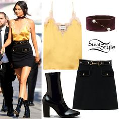 Kendall Jenner was spotted arriving for an appearance on Jimmy Kimmel Live wearing a Silk and Lace Cami Top ($780.00) and a Wool Skirt (Not available online) both by Gucci, a Dries Van Noten Velvet Pearl-Detail Choker (£240.00) and Kenneth Cole Krystal Patent Leather Boots ($354.99). You can find similar boots for less at Public Desire ($52.99).