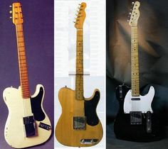 "3 prototypes. From Left to Right.  #1 white ""Snake Head"" 1949. Created to test bridge plates and pickups... but everyone wanted to use it at gigs. #2 Blonde Esquire.  Taken around to gigs so Western and Swing guitar players could try it out and make comments. #3 is actually later than the red one I'll be pinning... it's the first production quality Tele style guitar with two pickups... but they still called it a ""two pickup esquire"" - so in a way it's still a prototype for what is to come."