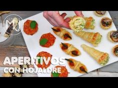 5 APERITIVOS CON HOJALDRE | Canapés variados - YouTube Food Trays, Empanadas, Fresh Rolls, Happy Hour, Tea Time, Tapas, Sushi, Appetizers, Cooking Recipes