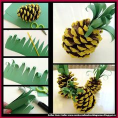Dollar Store Crafter: Turn Pincones into Pineapples ~ Kid's Crafts ., Dollar Store Crafter: Turn Pincones into Pineapple ~ Kid's Crafts Toddler Crafts, Diy Crafts For Kids, Fun Crafts, Art For Kids, Paper Crafts, Pine Cone Crafts For Kids, Pinecone Crafts Kids, Kids Diy, Luau Theme Party