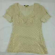 """《S A L E》Gold Dots Ruffle Top Excellent condition. Never worn but has a tiny spot (see pic 4).  Dry cleaned and ready for a new home. Hidden side zipper. Lined except for the sleeves. 86% Silk 14% polyester   Measurements Laying Flat Across: Length:  22.5"""" Armpit-to-armpit:  16"""" Armani Exchange Tops Camisoles"""