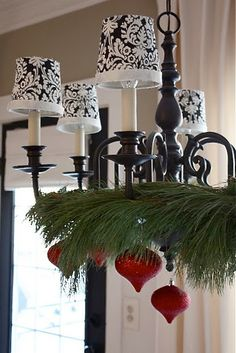The Yellow Cape Cod: Holiday Home Tour 2013. Paint brass chandelier black and add shades.
