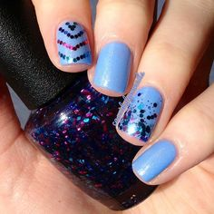#NicoleByOPI Nothing Kim-Pares To Blue with @opi_products Polka.com glitter placement  @cassidylynnnails