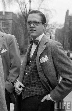 Male fashion in the 50s mostly had pattern incorporated somehow into their daily outfits.  Fancier outfits such as suits (in this picture) were also very popular for man in the 50s