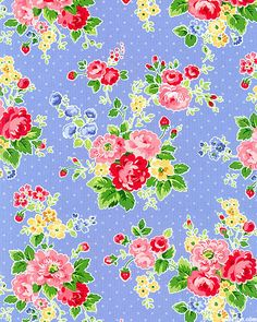 Pam Kitty - kitchen floral - periwinkle