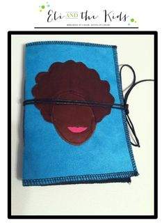 Soft covered Journal/Notebook, bright Blue faux suede outer cover with leather natural hair silhouette on front cover.  White heavy echo friendly paper on the inside held shut with black leather string.   Note that because these are all custom made by me and are all one-of-a-kind, the color of ...