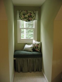 LOVE this dormer window seat. Could make it higher and make it into desk later on!!
