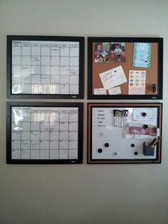 Current calendar and upcoming month, cork board for invitations appointment cards, etc. and dry erase board for meal planning and notes