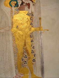 Gustav Klimt (1862-1918) - The Golden Knight, Detail from the Beethoven Frieze.  Vienna Secession Hall, Secession Building. Vienna, Austria.
