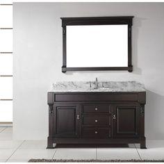 Virtu Usa Huntshire 60x23 Single Sink Bathroom Vanity In Dark Walnut W Italian Carrara White