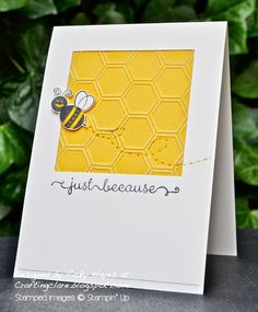 By Vicky Hayes. Dry emboss white-core yellow cardstock in honeycomb folder. Sand.