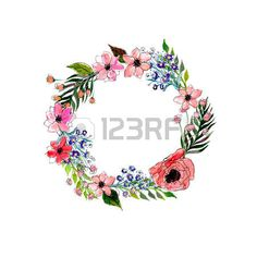 Illustration about Watercolor flowers wreath. Illustration of drawn, floral, drawing - 51524031 Watercolor Flower Wreath, Floral Watercolor, Watercolor Paintings, Flower Frame, Flower Art, Flower Crown Drawing, Paint Vector, Wreath Drawing, Flower Garlands