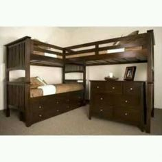 Wonder if a crib would fit where the dresser is under these triple bunk beds?