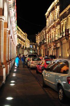 itriptwiceaweek:  Avenida.Zacatecas, Zacatecas. Mexco. Down town Zacatecas has a new light set up. Pretty cool actally.