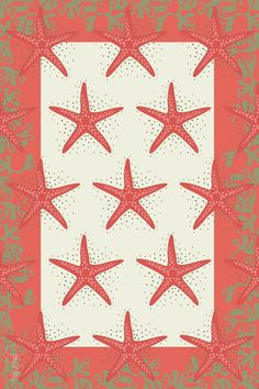 mint green and coral nautical fabrics | love this starfish rug from Newport Nautical Decor !!!
