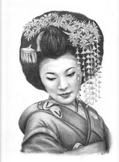 PORTRAIT OF A GEISHA original drawing Stacy by 2DragonLadies, $80.00