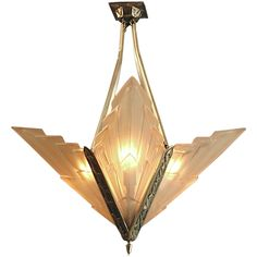 French Art Deco Degue Chandelier with Geometric Peach Glass  France  Ca. 1928