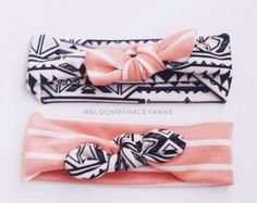 Stripe head wrap colored knot bow black by Bloombyhaleyanne