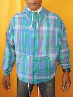 Wrangler Jacket Vintage Full Zipper Hoodie 90s Plaid by InPersona