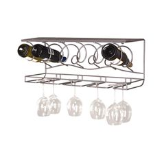 Wine Bar Wall Rack: Great for those who are space-conscious, the Wine Bar Wall Rack is the perfect additional to your kitchen or home bar. This gunmetal, wall-mounted rack provides a large stemware rack, wine bottle rack and shelf space. The Wine bar comes pre-assembled for quick and easy enjoyment! http://www.epicureanist.com/View.aspx/5084/Wine-Bar-Wall-Rack #wineracks #spacesaver #glass