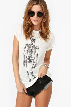 Skeleton Tee in Ceramic White by Wildfox. Bought from NastyGal.com for $65