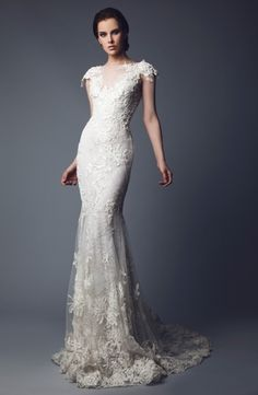 Illusion Sheath Wedding Dress  with No Waist/Princess Seams in Beaded Lace. Bridal Gown Style Number:33120403