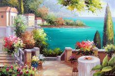 beach terrace paintings   ... Beach Home Estate Coast Ocean Sea Terrace Stretched 24X36 Oil Painting
