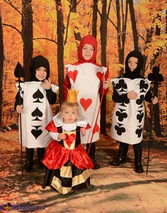 Queen of Hearts and her Card Soldiers - Halloween Costume Contest via @costume_works