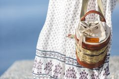Basket Leather Backpack - Mosaic - Greek Designers - Made in Greece - Naxos Island - Cyclades of Greece - Boat Photography - Sandy Beach - Sunset - Summer Outfits - Spring Summer Collection - Brown Bag - Handmade - Cute and Spacious