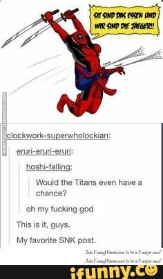 Deadpool in Attack on Titan? ^see to me it's Deadpool and Spidey in Ender's Game Spideypool, Marvel Dc, Marvel Comics, Marvel Memes, Cosplay Meme, Deadpool And Spiderman, Deadpool Stuff, Deadpool Funny, Pokemon