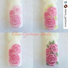 Pin by Sheri Le on Nail art designs Rose Nails, 3d Nails, Nail Art Fleur, Water Color Nails, One Stroke Nails, Vintage Nails, Animal Nail Art, Nail Art Techniques, Nail Art Studio