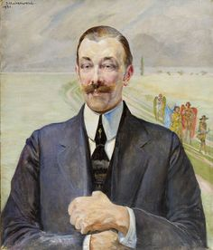 Portrait of the man in the gray suit, 1921  by Jacek Malczewski, (Polish 1854-1929) oil on canvas, 65 x 55,5 cm signed and dated upper left: 'J.Malczewski | 1921'....not sure what's going on in the background....looks like a group of angels, typical of this artists work.....nice high collar....and tie pin...